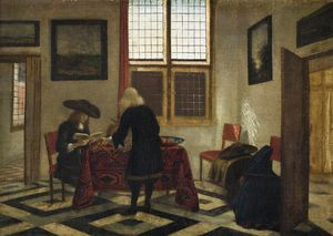 A Man Singing and Another Playing the Viola in an Interior