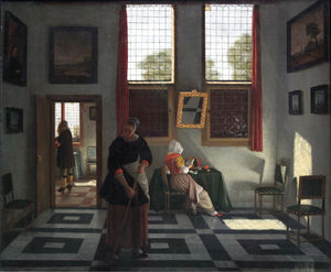 Interior with Painter, Woman Reading and Maid Sweeping