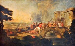 An Engagement on a Bridge outside a Fort