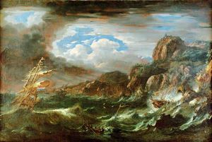 Night Storm at Sea with Dutch Ships Being Wrecked