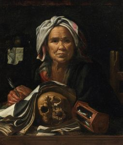 An Old Philosopher at Her Desk, with a Vanitas Skull and an Hourglass