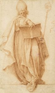 A standing bishop holding a book