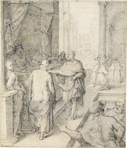 The foundation of the church of st. chiara an assembly presided over by two cardinals, in the background worshippers kneeling at an altar