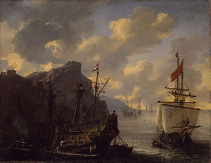 An Amsterdam ship in a bay on the Mediterranean Sea