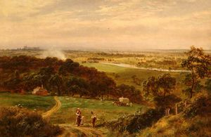 View from Cooper's Hill over Runnymede, with Windsor Castle in Distance