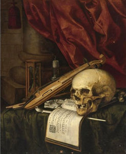 A Vanitas still life with a skull, a violin, a musical score, a pipe and tobacco, an hourglass and a candle on a draped table