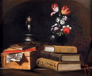 Still life with candle, book and vase of flowers on a stone ledge