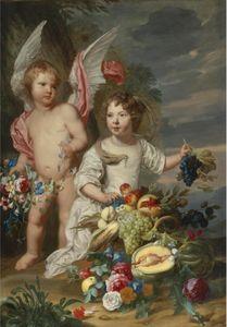 Двойной портрет девушки и девушка, как Амур и Цереры рядом с жизни Stil фруктов и цветов