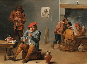 Peasants smoking and drinking in a Tavern Interior