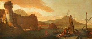 Capriccio of a Seaport with Orientals, Ruins, and an Antique Statue