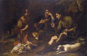 Boys pausing from a hunt and playing at odds in a forest clearing