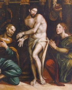 Christ at the Column with Saints John the Evangelist and Peter