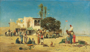 Market at the edges of the nile