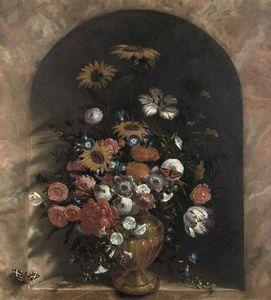 Flowers in a stone niche