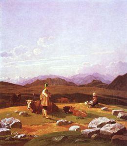 Hunters in mountain landscape