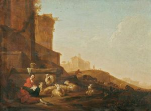 A 羊と羊飼い 下に ザー 城壁 ローマの , その他 図および 建物 を越えて