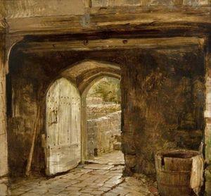 Sketch of a Doorway with a Water Barrel