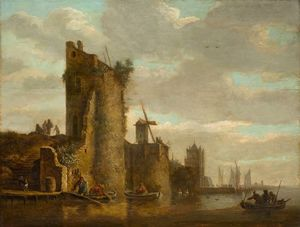 City wall with bastions, windmill and a jetty on a river