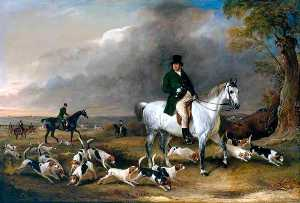 John Burgess of Clipstone, Nottinghamshire, on a Favourite Horse, with his Harriers