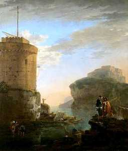 A Mediterranean Coastal View with Shipping and Mariners by a Fort