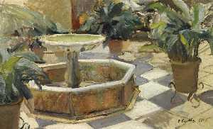 Spanish Fuente en un Patio sevillano Fountain in a courtyard, Seville