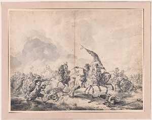 Battle between Cavalrymen and Foot Soldiers