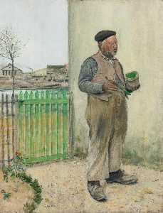 Bonhomme venant de peindre sa barrière (Man Having Just Painted His Fence)