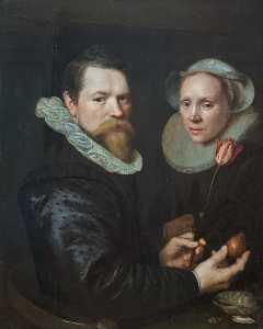 двойной портрет в а муж и жена с Тюльпан , Колба , и снарядов