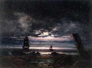 Moonlight on the Coast at Steigen
