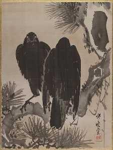 松に鴉図 Two Crows on a Pine Branch