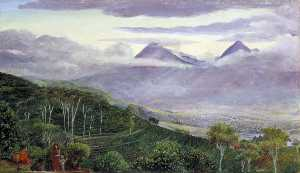 The Papandayang Volcano, Java, Seen from Mr Hölle's Tea Plantations