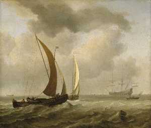 Two Kaags at Sea before a Fresh Breeze