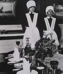 Parlourmaid and Under parlourmaid Ready to Serve Dinner