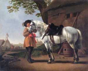 A Cavalier with a Grey Horse