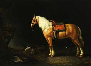 A Saddled Horse with a Goat in a Stable