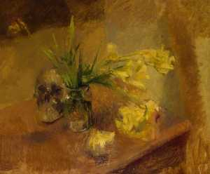 Freesias with a Skull