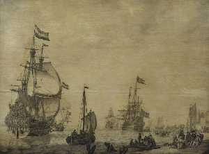 Dutch Flagship near the Shore with a Swedish Ship in the Background