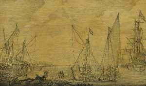 A Kaag and Other Vessels off a Pier
