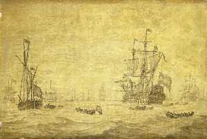 A Dutch Two Decker and a Galjoot Lying By with the Fleet at Sea, c.1672