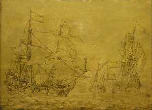 Two Merchant Ships Under Sail in a Moderate Breeze