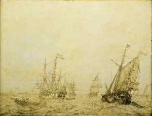 A Wijdschip and Other Vessels off a Harbour