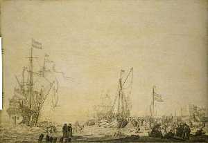 Kaags Close to the Shore in a Busy Scene near Den Helder