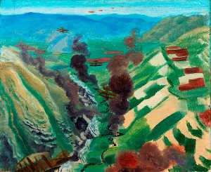 Study for 'The Destruction of the Turkish Transport in the Gorge of the Wadi Fara, Palestine'