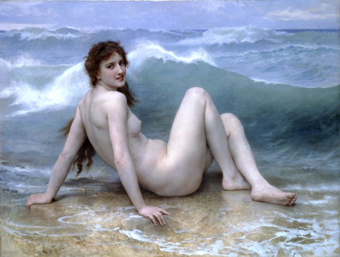 The wave, 1896 by William Adolphe Bouguereau (1825-1905, France) | Museum Art Reproductions William Adolphe Bouguereau | WahooArt.com