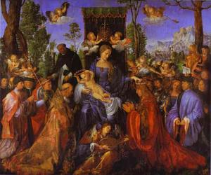 Albrecht Durer - The Altarpiece of the Rose Garlands - (paintings reproductions)