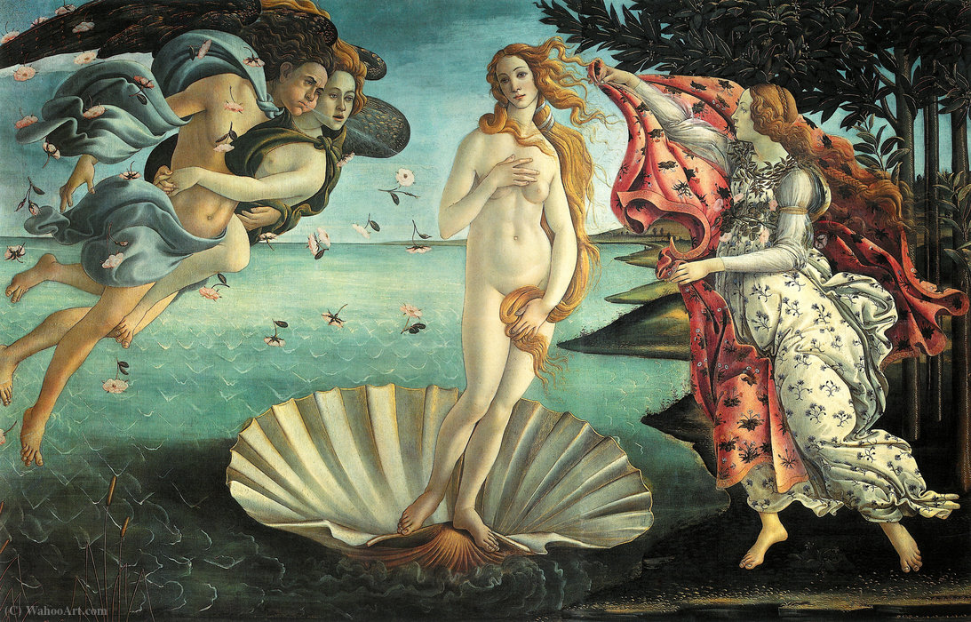 The Birth of Venus, Tempera by Sandro Botticelli  (order Fine Art oil painting Sandro Botticelli)