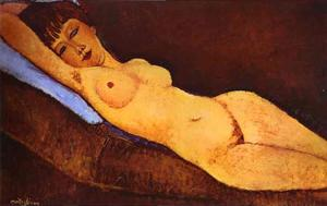 Amedeo Modigliani - Reclining Nude with Blue Cushion - (paintings reproductions)