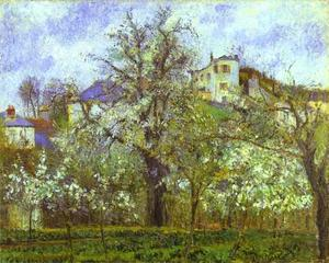 Camille Pissarro - Vegetable Garden and Trees in Blossom, Spring, Pontoise - (oil painting reproductions)