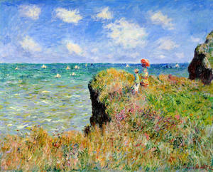 Claude Monet - Clifftop Walk at Pourville - (paintings reproductions)