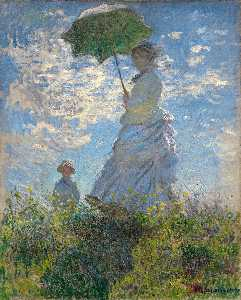 Claude Monet - The Walk. Lady with a Parasol - (oil painting reproductions)